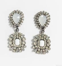 2018 black magic srystal chandelier earrings faceted gem stones detailed drop earrings pear square double drop earrings glass geometrical post from
