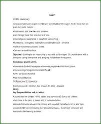 Nanny Resume Sample Template Digitalhustle Co