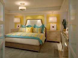 view in gallery small and chic bedroom in yellow and turquoise from laura miller interior design