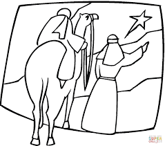 Small Picture Kings on the camel are pointing at Christmas Star coloring page