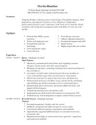 Resume Job Description Best Sample Resume Job Description Waitress For By Letsdeliverco