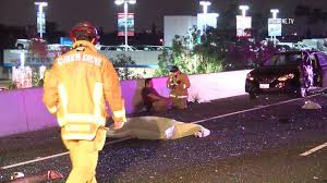 two men were killed monday when a red sedan crashed into a wall on the brookhurst street offr of the garden grove 22 freeway and a good samaritan and
