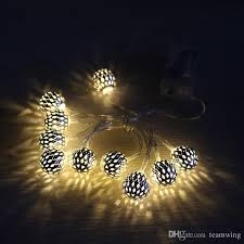1 2m moroccan metal ball fairy lantern string lights 10led decoration lighting indoor and outdoor light with battery operatedwarm white outdoor string light
