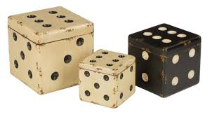 Decorative Retro Wooden Dice Stackable Storage Boxes in Black and Ivory,  Set of 3