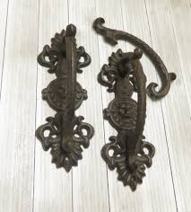 Decorating barn door handles pictures : TWO Vintage Wrought Iron Lion Head Door Handle Door Handle