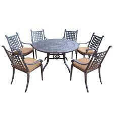 7 piece round patio dining set with sunbrella cushions