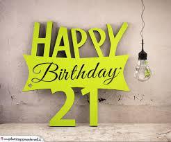 Holzausschnitt Happy Birthday 21 Geburtstag Spruch