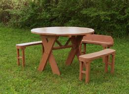 round picnic table with 3 benches