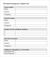 emergency contact template contacts list template expinmedialab co
