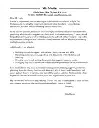 Cover Letters Letter Samples Administration Office Support