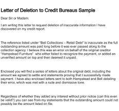 Letter Of Deletion Regarding Sample Letter To Credit Bureau To ...