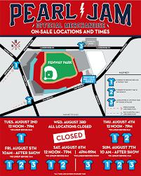 Pearl Jam Fenway Park Official Merch Schedule