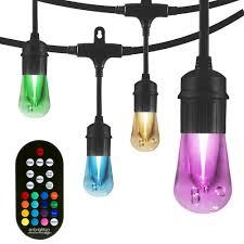 Home Depot Cafe Lights Enbrighten 12 Bulb 24 Ft Vintage Seasons Color Changing Cafe Integrated Led String Lights Black