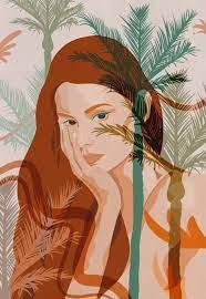 nikau palm girl a4 art print a4 giclee