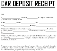 Receipt For Sale Of Car Bill Of Sale With Payments Template Car Receipt Deposit Word