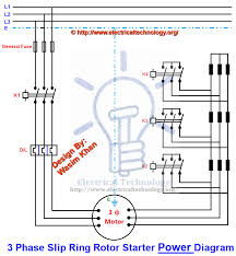 power diagram three phase slip ring rotor starter control power diagrams