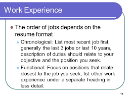 resume order of jobs 1 peirce college career development services the basics of writing