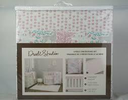 details about dwell studio 3 piece crib bedding set sweet fawn deer girls pink gray green new