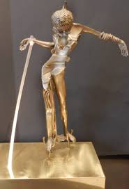 women with head of roses bronze sculpture 1981