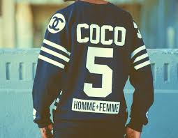 chanel jersey. if you follow us on instagram saw dexington steele rocking the above hockey jersey by homme + femme la. inspired legendary coco chanel and