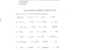 balancing chemical equations worksheets with answers sample writing practice