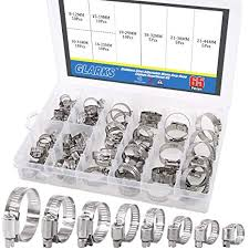 Worm Gear Clamp Size Chart Glarks 65 Pieces 304 Stainless Steel Adjustable 8 44mm Range Worm Gear Hose Clamps Assortment Kit Fuel Line Clamp For Water Pipe Plumbing