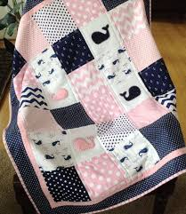 Baby Whale Quilt in pink navy and white by Lovesewnseams on Etsy ... & Girl Baby Quilt Ideas Cute Baby Girl Quilts Cute Easy Baby Quilt Patterns  Baby Whale Quilt In Pink Navy And White By Lovesewnseams On Etsy Adamdwight.com