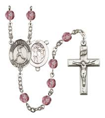 saint sebastian birthstone rosary prayer beads patron saint of sports baseball
