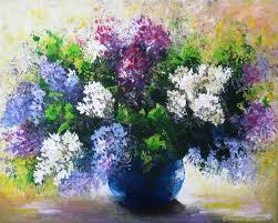 flower paintings handmade livemaster handmade lilac original acrylic painting on canvas flowers
