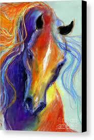 stallion art canvas print featuring the painting stallion horse painting by svetlana novikova