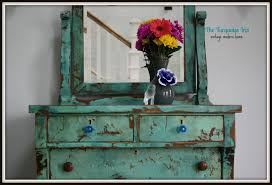 Distressed antique furniture Red Turquoise Heavily Distressed Antique Dresser The Turquoise Iris The Turquoise Iris Furniture Art Turquoise Heavily Distressed