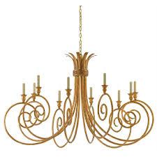 currey eyelash 10 light chandelier in a french gold leaf finish
