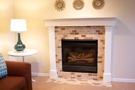 ... Attractive Living Room Decoration With Tile Fireplace Surrounds :  Enchanting Living Room Decoration With Light Brown ...
