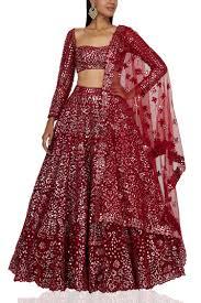 Tamanna Designer Store Burgundy Embellished Lehenga Set Designed By Tamanna Punjabi