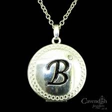 charming silver plated b initial locket pendant necklace