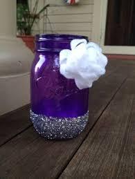 Blue Mason Jars Wedding Decor Purple and Gray Ombre Mason Jars with Glitter Base Accent Plum 55