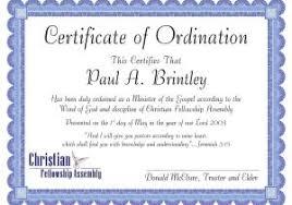 Ordination Certificate Template Ordination Certificate Templates Ordination For Minister