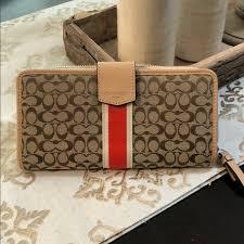 Coach signature stripe accordion zip wallet