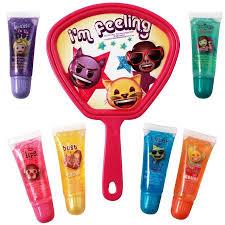 6pc emoji pact mirror lip gloss set s makeup cosmetics stocking stuffer