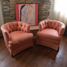 mid century swivel chair. GLAMOROUS VINTAGE CHAIRS 1960s Barrel Back Club Armchair Pair Upholstered In Salmon Pink Silk Fabric Mid Century Swivel Chair