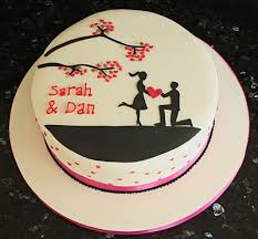 A Simple Silhouette Engagement Cake By Vanilla Vanillalila The
