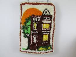 details about house scene with sun latch hook rug wall hanging completed finished
