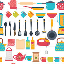 Cooking Utensils Background Seamless Pattern With Kitchen Tools Gm