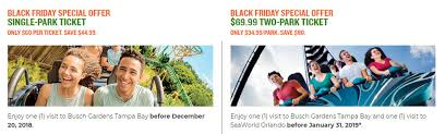 two ticket offers are also available as part of the the busch gardens black friday a single day ticket and a two park ticket with a visit to seaworld