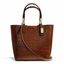 The Madison Mini North south Bonded Tote In Croc Embossed Leather from Coach
