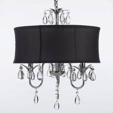 photo 3 of 8 black crystal chandelier lighting 3 modern contemporary black drum shade crystal ceiling chandelier pendant