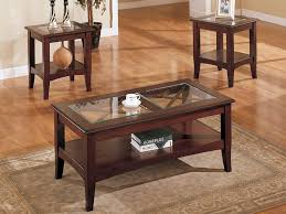 Furniture: Coffee And End Tables Luxury 3 Piece Coffee Table Set Dark  Mahogany With Glass