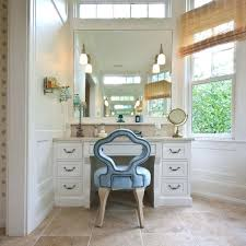 tall mirror dressing table interior makeup white wooden stool on unstained floor round shape flower chairs