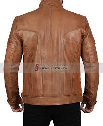 distressed brown leather jacket for men