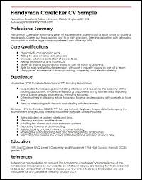 Handyman Caretaker Sample Resume School Caretaker Sample Resume